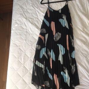 Black Printed Mid Length Dress